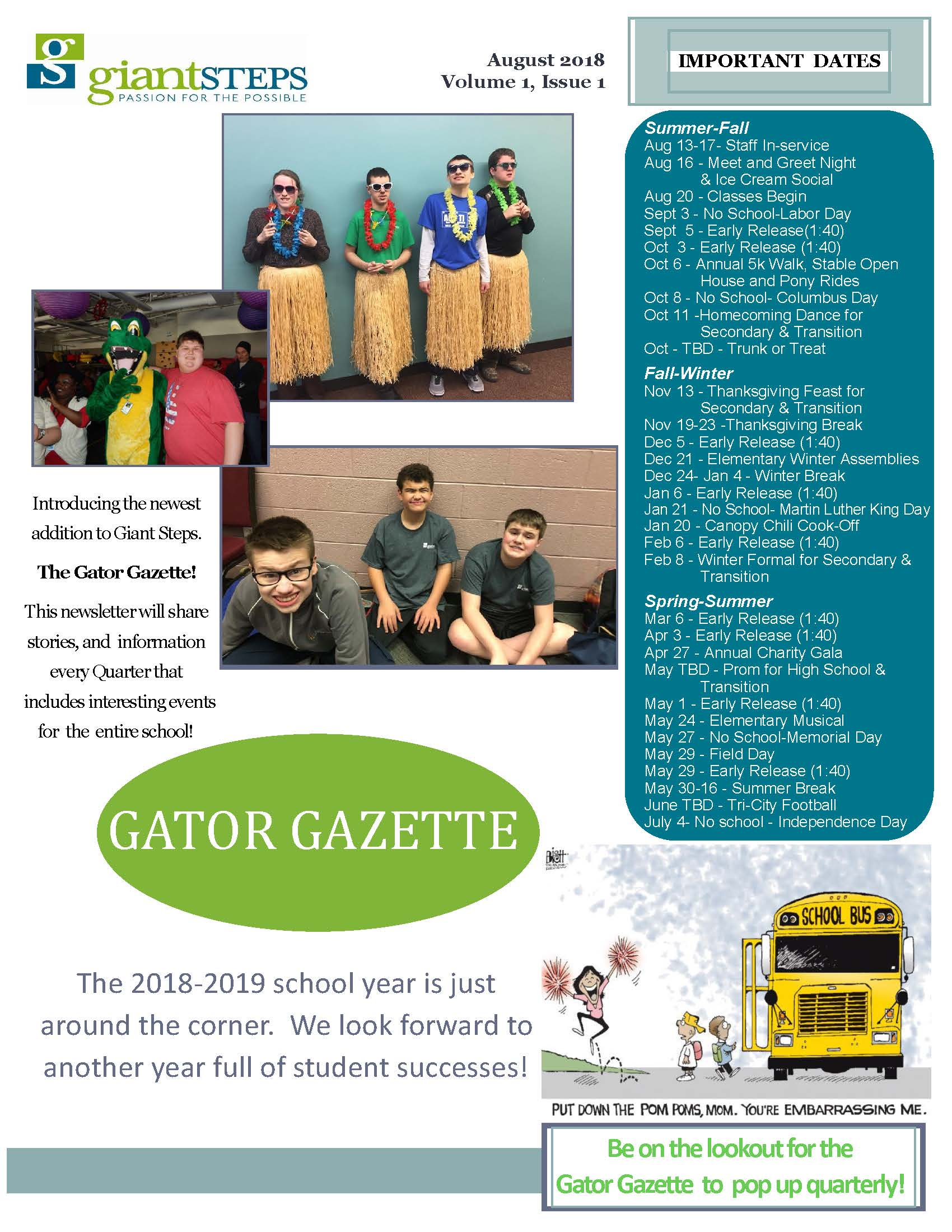 Gator Gazette Issue 1, Volume 1 Cover